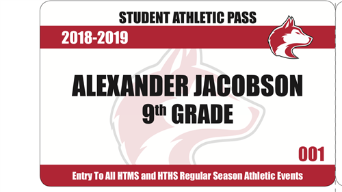 Sample student athletic pass with school year, name, grade and card number