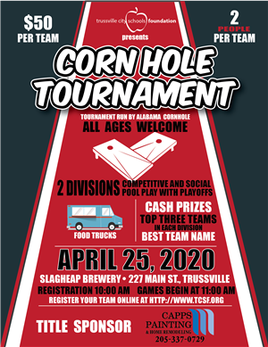 Corn Hole Tournament, April 25, 2020 at Slagheap Brewery in Trussville.  For more information visit http://www.tcsf.org